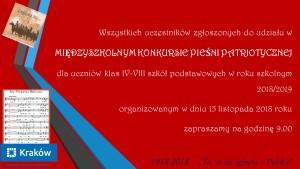Zaproszenie do szkół na Spotkanie z Pieśnią Patriotyczną